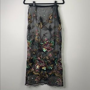 Sheer floral sequin maxi Skirt